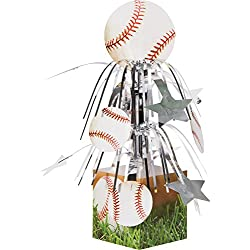 Creative Converting 267963 6 Count Sports Fanatic Mini Cascade Centerpiece With Base Baseball, White