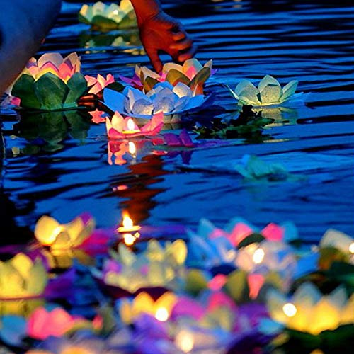 (superdream Solar Power Energy Floating Lotus Flower LED Accent Light for Pool Pond Garden Night Light)
