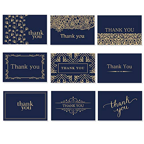 - Beautiful Thank You Cards With Envelopes - Thank You Notes - Blank Thank You Notes In Gold Foil Embossed Lettering - Perfect for Business, Wedding, Gift Cards, Graduation - Navy Blue & Gold 36 Pack