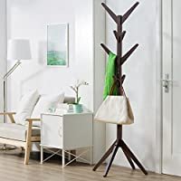soges Coat Rack 69 inch High Free Standing Coat Hanger Coat for Hat Jacket Entryway Hall Tree, Espresso CR001-CF