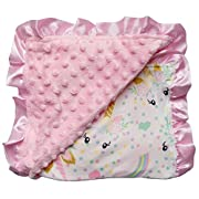 So Sydney Reversible Soft Textured Minky Dot Baby Infant Toddler Blanket with Satin Trim (Unicorn Pastel)