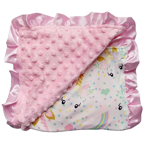 So Sydney Reversible Soft Textured Minky Dot Baby Infant Toddler Blanket with Satin Trim (Unicorn Pastel) ()