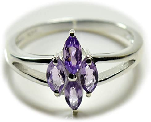 Natural Amethyst Pendant for Women Sterling Silver February Birthstone Handmade Necklace Marquise Shape