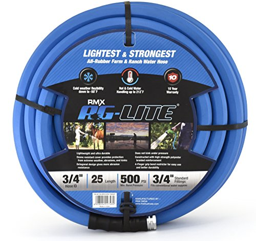 AG-LITE Rubber Hot & Cold Water Rubber Garden Hose: Ultra-Light & Super Strong – 10 Year Warranty (3/4″ x 25′)
