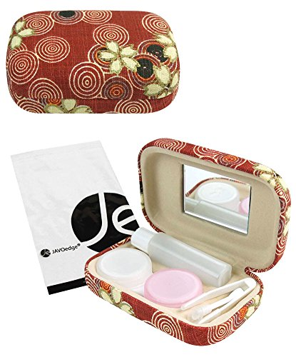 JAVOedge Red Cherry Blossom Print Contact Lens Carrying Case Travel Kit with Mirror, Tweezers, and Solution Bottle