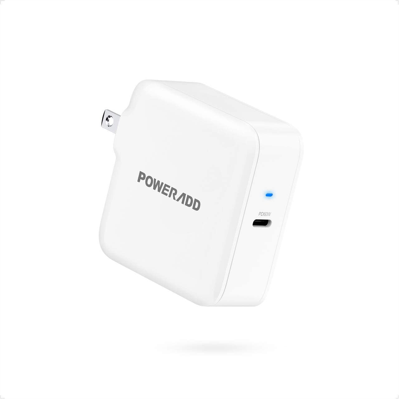 USB C Charger, POWERADD 60W Type-C Power Adapter, Fast Power Delivery Foldable PD Wall Charger, Compatible for MacBook Pro/Air, HP Spectre, Dell XPS, Matebook, iPad Pro, iPhone 12, Galaxy and More