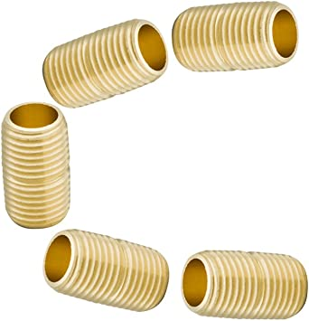 1-1//8 Length 1200psi 1//2 NPT Male x 1//2 NPT Male Pack of 5 Legines Brass Pipe Fitting Close Nipple