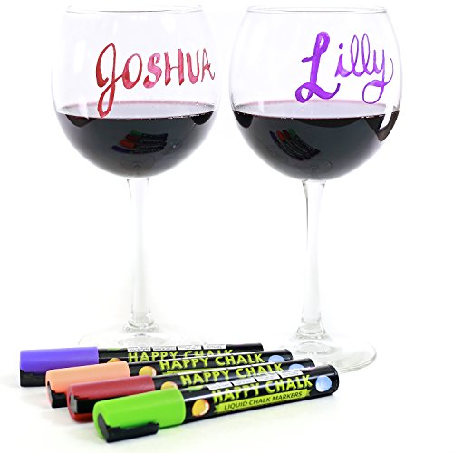 Happy Playful Glass Markers Premium Quality - 10 Bright Neon Colors. Best Used for Christmas Party Decorations. Used With or As Alternative to Wine Glass Charms. Everything Must Go!!! (Price Is Right 2017 Halloween)