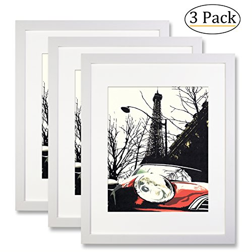 Ohbingo 11 by 14 inch White Picture Frame set of 3 pack for Pictures 8x10 with Mat or 11x14 Without Mat for Wall or Tabletop Decoration