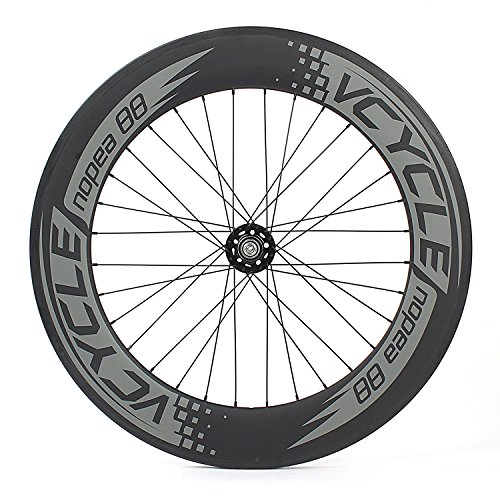 VCYCLE Nopea 700C Carbon Fiber Wheelset 88mm Clincher Fixed Gear Single Speed 32/32 Holes (Rear Wheel)