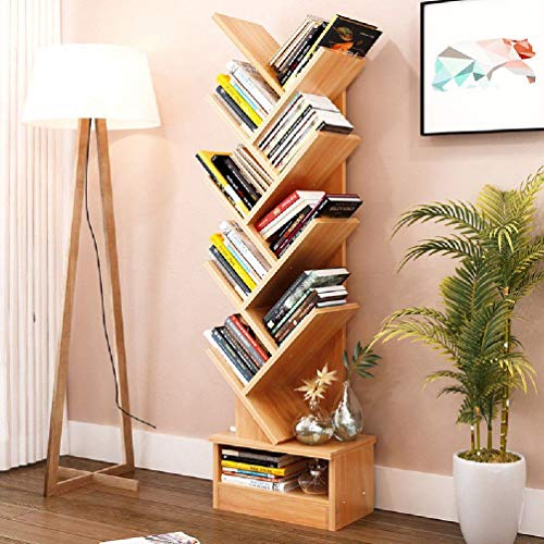 RWABF Home Bookcase Shelf Stand Display Cases Bookshelf Shelving Wood Shelves Tree Shape