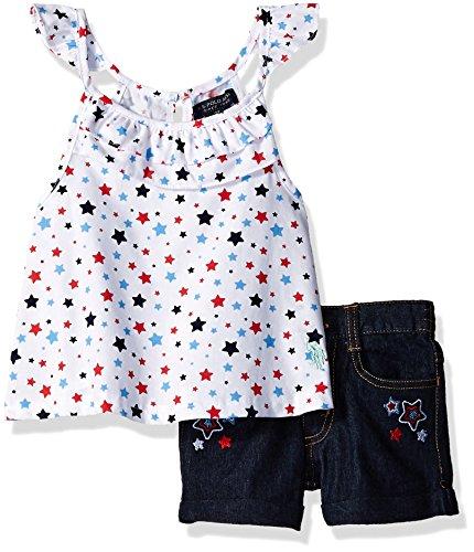 (U.S. Polo Assn. Girls' Toddler Fashion Top Set, Americana Ruffle Neck Halter Denim Star Short Multi 2T)