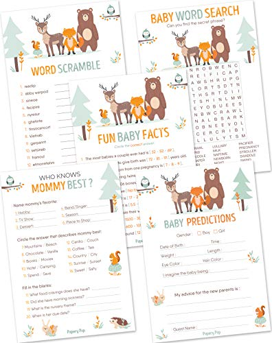 Baby Shower Games for Boys or Girls - Set of 5 Activities - (50 Cards Each, 250 Total) - Baby Shower Supplies - Woodland Animals ()