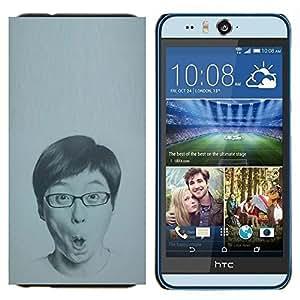 KLONGSHOP // Cubierta de piel con cierre a presión Shell trasero duro de goma Protección Caso - Retrato Hombre Gafas Dibujo - HTC Desire Eye M910x //