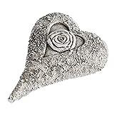 Formano Decorative Heart Sculpture Beautiful Grave Ornament Grave Decoration Grave Heart Figure for Tombs Cream Grey 12 cm