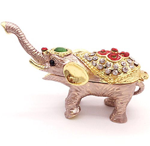 Waltz&F Elephant Figurines Statues Jewelry Trinket Box Hinged with Gift Box Vintage Elephant Figurine