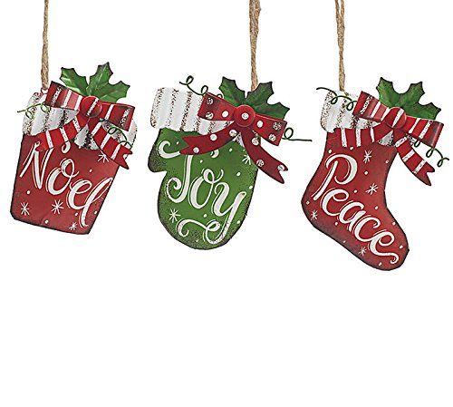 Tin Christmas Ornaments - Stocking - Present - Mitten - set of 3