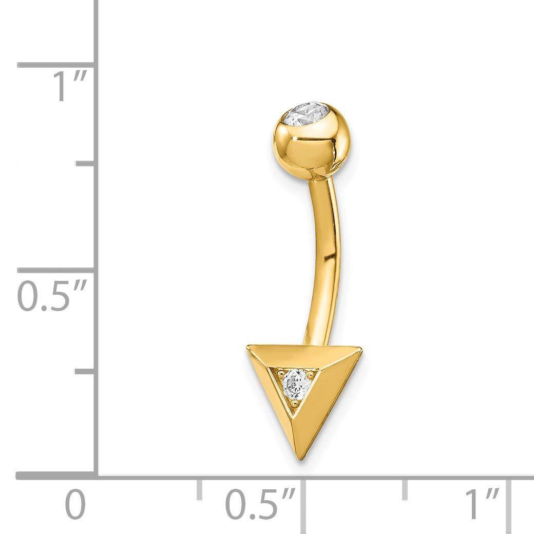 Bonyak Jewelry 14k Triangle CZ Belly Ring in 14k Yellow Gold