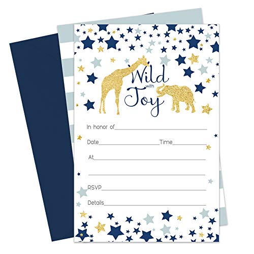 Navy Blue Jungle - Safari Invitations and Navy Blue Envelopes - 15 Pack