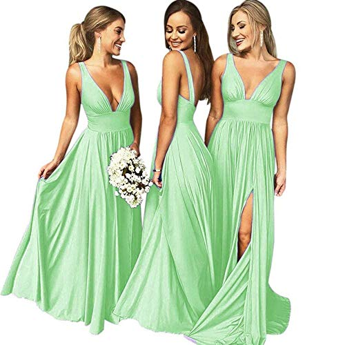 g V Neck Backless Split Prom Dress Evening Gowns for Women 2019 Mint Size18 ()