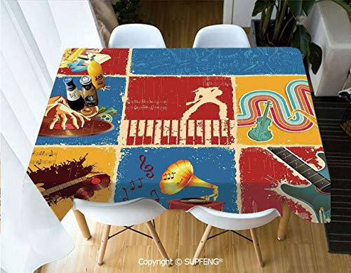 Vinyl Tablecloth Retro Collage Illustration of Different Music Instruments Guitar Violin Jazz Pop Art Boho Decor (60 X 120 inch) Great for Buffet Table, Parties, Holiday Dinner, Wedding & More.Deskto -