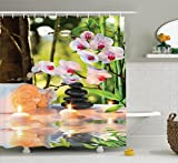 Ambesonne Spa Shower Curtain, Massage Spa Theme with Candles Orchids and Stones in Garden Japanese Oriental, Cloth Fabric Bathroom Decor Set with Hooks, 70 Inches, Pale Green Fuchsia