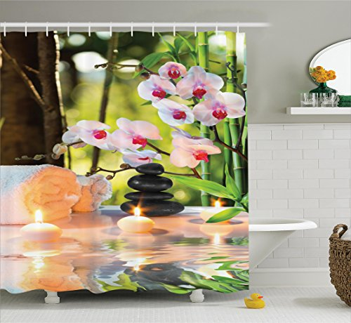 Ambesonne Spa Decor Collection, Massage Composition Spa with Candles Orchids and Stones in Garden Picture Pattern, Polyester Fabric Bathroom Shower Curtain, 84 Inches Extra Long, Ivory Green White