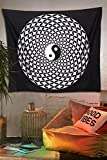 Mandala Decor Tapestries - Black and White Ying Yang Wall Hanging Tapestry, Sacred Geometry Pattern, Indian Cotton Printed Spiritual Throws for Yoga and Meditation