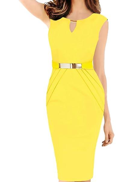 Vestido fiesta amarillo amazon