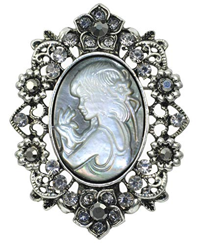(Gyn&Joy Vintage Inspired Antique Reproduct Grey Crystal Flower Conch Shell Cameo Pin Brooch)