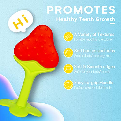 Baby Teething Toys Set with Baby Food Feeder Fruit Feeder Pacifier (2 Pack) and 3 Different Sized Silicone Sacs, Silicone Baby Teether Chew Toys, BPA-Free, Freezer Safe for Infants and Toddlers