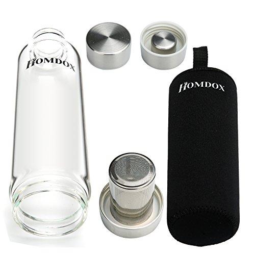 Homdox Glas Wasserflasche Sport mit Tasche