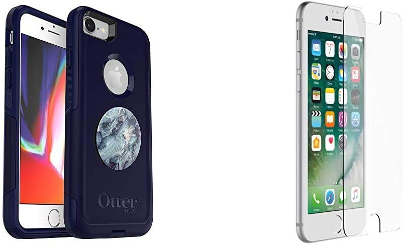 Bundle: OtterBox Commuter Series Case for iPhone SE (2nd gen - 2020) and iPhone 8/7 (NOT Plus) & Alpha Glass Series Screen Protector for iPhone 6/6s/7/8 (NOT Plus) - Retail Packaging - Clear