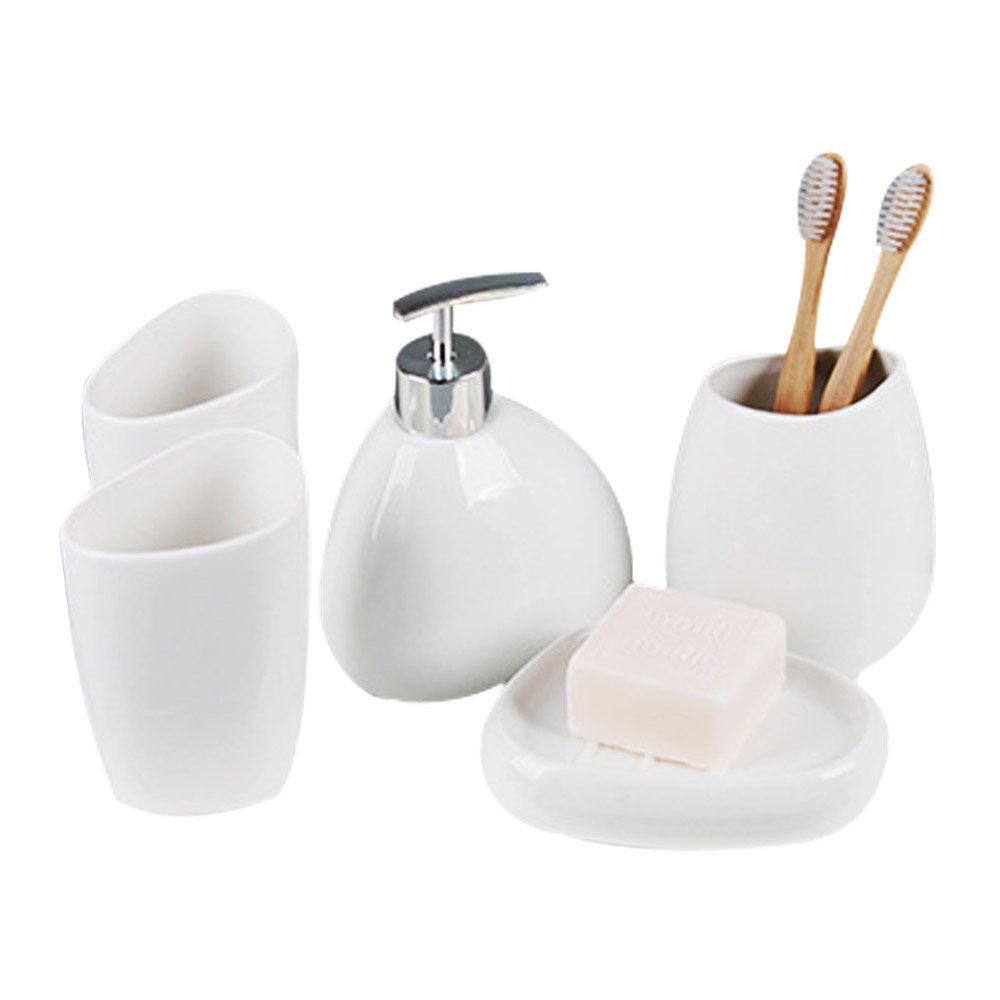 Mystery&Melody Ceramics Bathroom Set Bathroom Supplies Lotion Bottle Toothbrush Holder Soap Dispenser Soap Stand Rinse Cup Gifts for Home