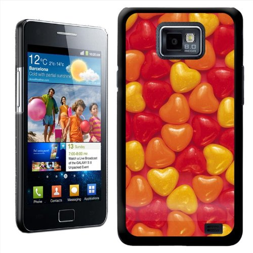 (Fancy A Snuggle Candy Hearts Tasty Design Hard Case Clip On Back Cover for Samsung Galaxy S2 i9100 - Yellow/Orange/Red)