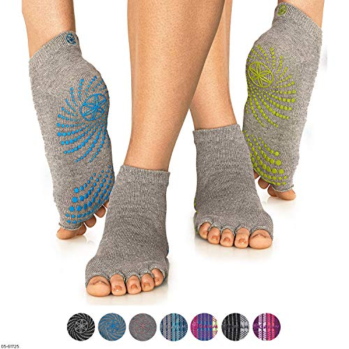 Gaiam Grippy Toeless Yoga Socks for Extra Grip in Standard or Hot Yoga, Barre, Pilates, Ballet or at Home for Added Balance and Stability (2-Pack), Yellow/Blue