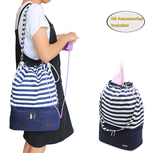 Teamoy Knitting Bag, Drawstring Travel Shoulder Tote Bag Organizer for Yarn, Unfinished Project, Knitting Needles and Accessories, Perfect for Knitting on The Go ,Blue Strips, No Accessories Included by Teamoy
