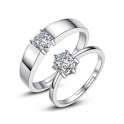 3c25330bc116 Trifycore las mujeres para hombre de plata anillo de compromiso anillo de  compromiso anillo de Zirconia Anillo ajustable Parejas  Amazon.es  Joyería