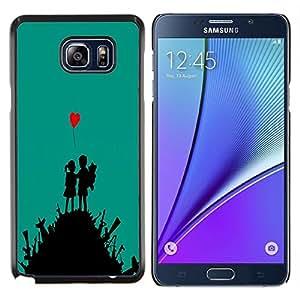 Caucho caso de Shell duro de la cubierta de accesorios de protección BY RAYDREAMMM - Samsung Galaxy Note 5 5th N9200 - Lucha lindo del arte del amor del muchacho del corazón Guerra Chica