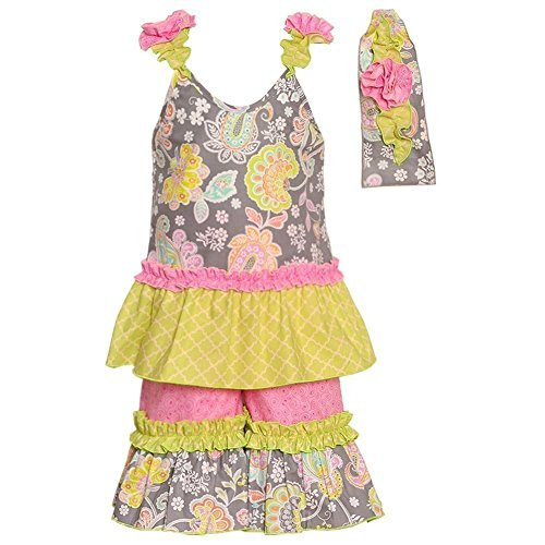 Sophias Style Exclusive Girls Lillian Pink Gray Paisley Ruffle 2pc Outfit - Style Sophias