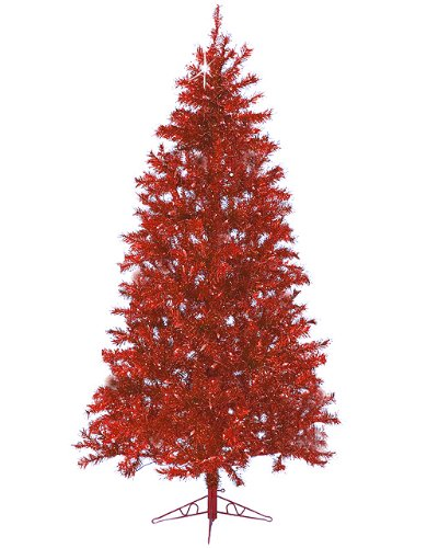 Santa's Own 7.5' Sparkle Merlot Pre-Lit Laser Tinsel Artificial Christmas Tree Merlot Lights ()