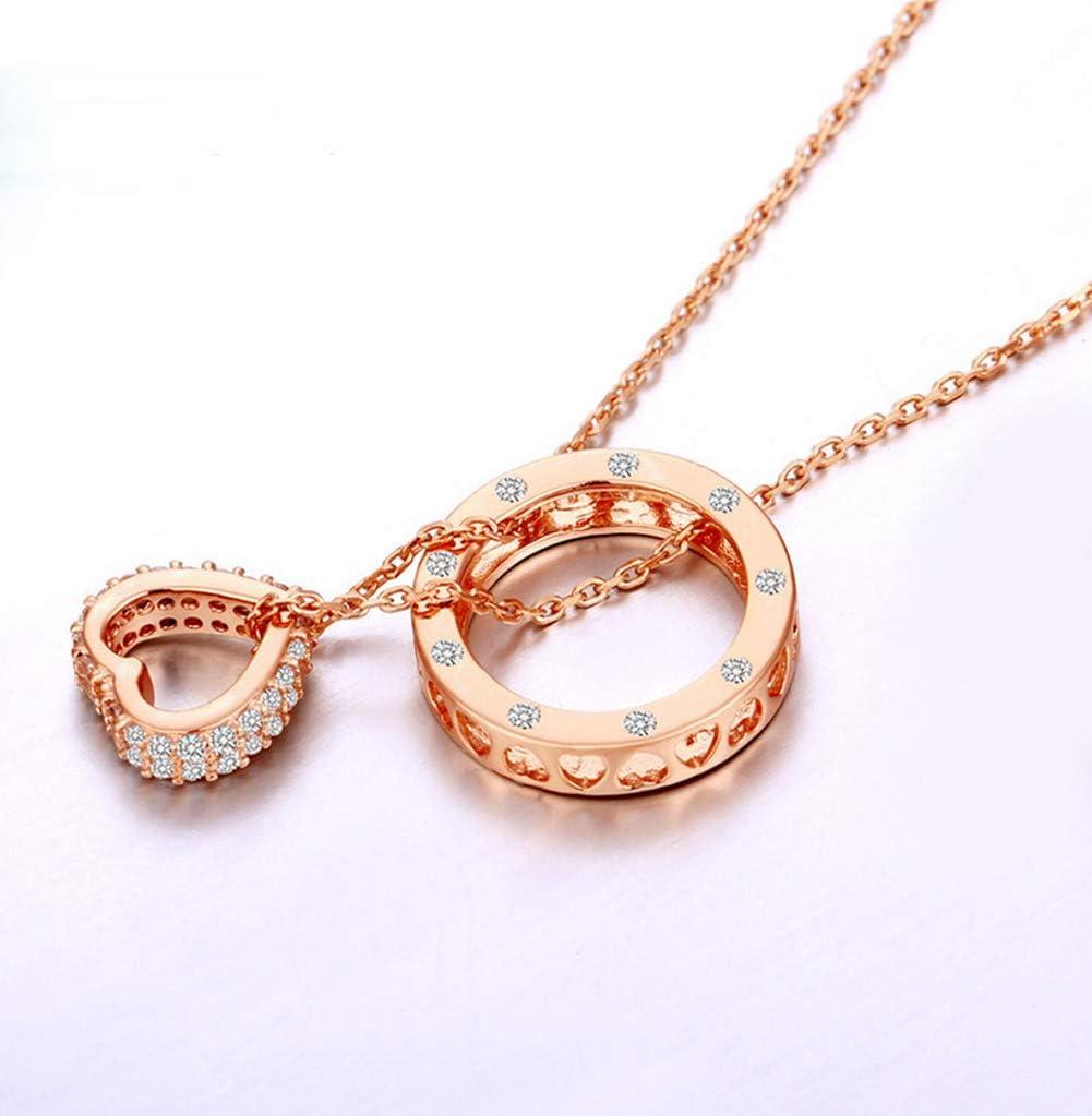 Women's Necklace Collar De Cobre para Mujer, Colgante De Corazón, Regalo De San Valentín, Sin Alérgenos, Forma De Corazón 0.8Cm, Anillo Exterior 1.4 Cm, Longitud De Cadena 39 Cm, Cola De Cadena 6 Cm