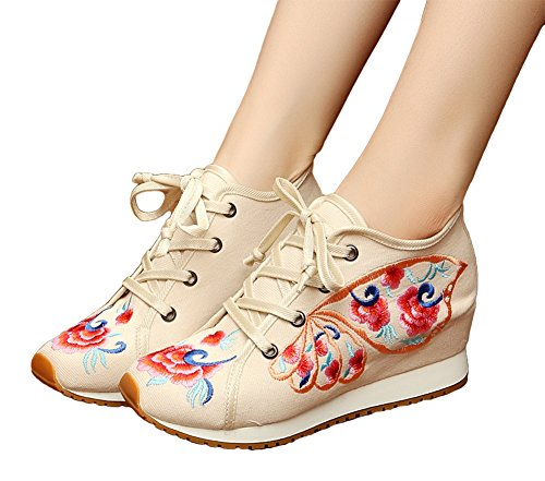 AvaCostume Womens Butterfly Embroidery Wedge Lace Up Casual Sneaker Shoes Beige
