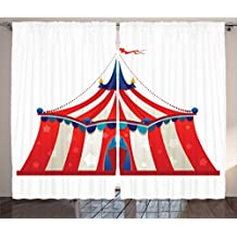 Ambesonne Circus Decor Collection, Colorful Striped Circus Marquee Tent with Stars Flag Carnival Performance Design, Window Treatments for Kids Girls Boys Bedroom Curtain 2 Panels Set, 108X63 Inches
