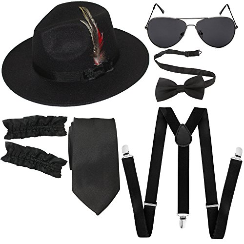 1920s Mens Manhattan Trilby Fedora Hat, Garters Armbands,Y-Back Suspenders & Pre Tied Bowtie, Gangster Sunglass (Black)
