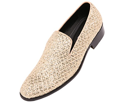 Bolano Mens Metallic Sparkling Lattice Glitter Tuxedo Slip on Smoking Slipper Dress Shoe, Style Sarlo, Runs Large Size 1/2 Size Down