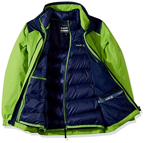Kamik Winter Apparel Boy's Chase 3In1 Down, Gecko/Navy, 3 by Kamik Winter Apparel (Image #3)