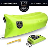 Air Chair Original™ - Outdoor Inflatable Lounger with Ripstop Parachute Polyester Material. The Easiest LayBag Lounger to Inflate Blue Black Pink Purple By Two Tree Hammock Co.™ (Green)