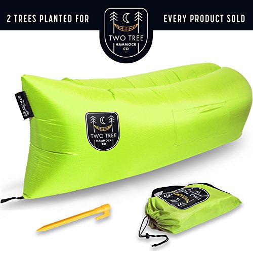 Price comparison product image Air Chair Original™ - Outdoor Inflatable Lounger with Ripstop Parachute Polyester Material. The Easiest LayBag Lounger to Inflate Blue Black Pink Purple By Two Tree Hammock Co.™ (Green)