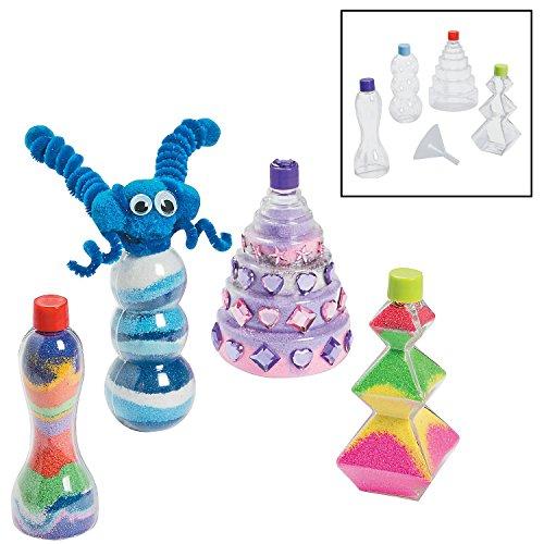 Fun Express Funny Sand Art Bottles Crafts for Kids Sand Art - 12 Pieces